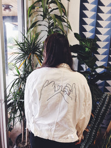 Hand Embroidered Pinky Promise  Bomber