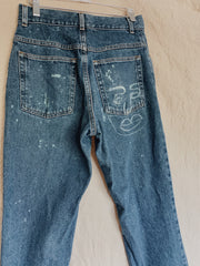 Face to face Bleach-Painted Denim Jeans