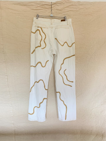 Tan Trail and Path Hand-Painted Denim Jeans