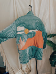Metallic Teal Drifting Desert Dream Puffer Jacket