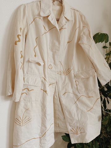 Desert minimalist Painted Trench Coat