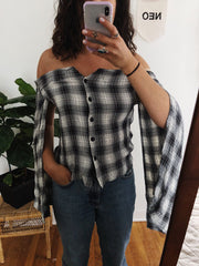 Black Block Plaid Fallen Shoulder Top