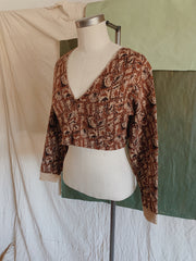 Rust Jacquard Sweater Crop Top