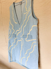 Tan Trail and Path Hand-Painted Denim Dress