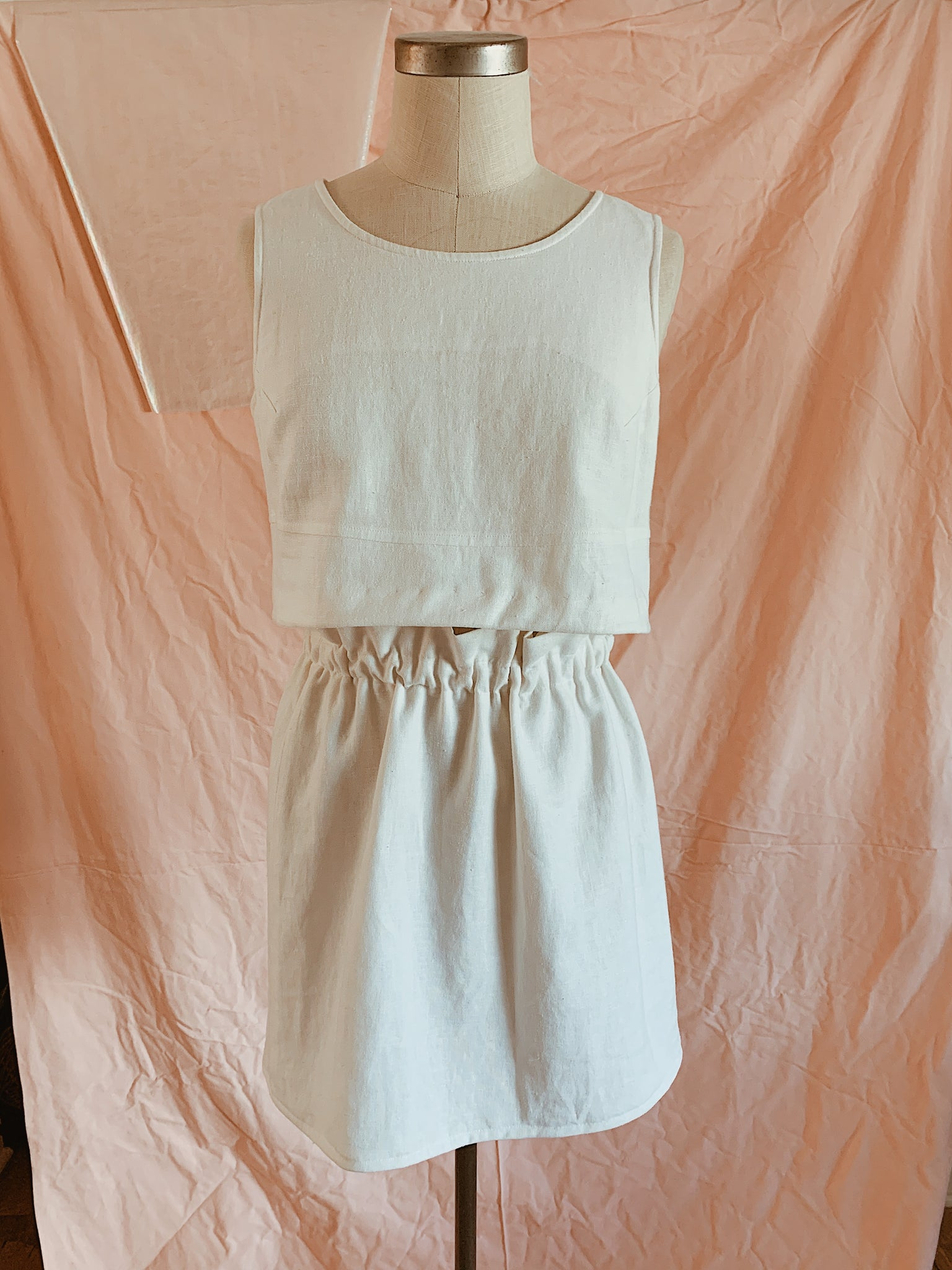White linen summer skirt set