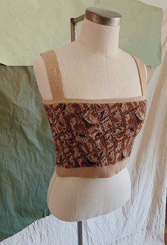 Rust Jacquard Sweater Tank Top