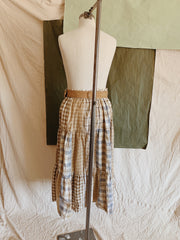 Suede belted plaid patch skirt