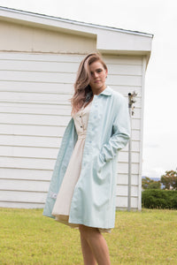 London Pale Blue Trench Coat