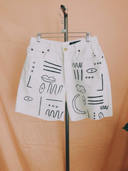 Minimal Painted White High-Rise Shorts