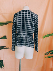 Navy Grid Skirted Top