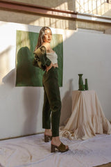 Deep Forest Green Cropped Pant Suit