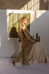 Khaki Pleat  Pant Suit