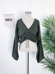 Olive Green Boho Blouse