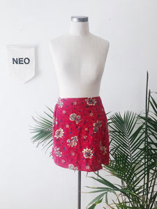 Paisley Floral Red Wrapped Skirt