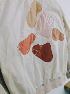 Pale Pink Abstraction Bomber Jacket
