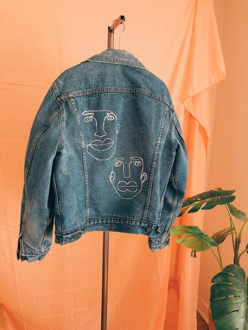 Perfect Pair Painted Lined Trucker Jean Jacket