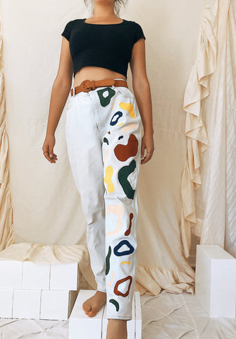 Primary Abstraction Painted Light Wash High-Rise Jeans
