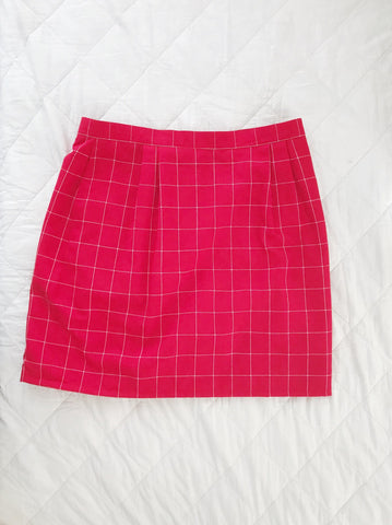 Red High Waist Geo Skirt