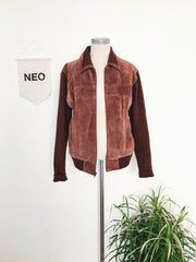 retro chocolate suede and knit jacket