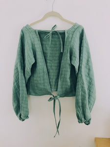 Romantic Linen Sage Tie Top