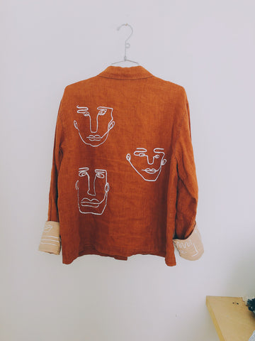 Rust Linen Between The Lines Jacket