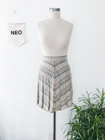 Sable Plaid Pleat Skirt