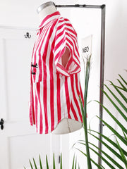 Sweet Pea Embroidered Striped Button Down Top