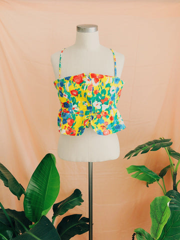 Tropical Bustier Flutter Top