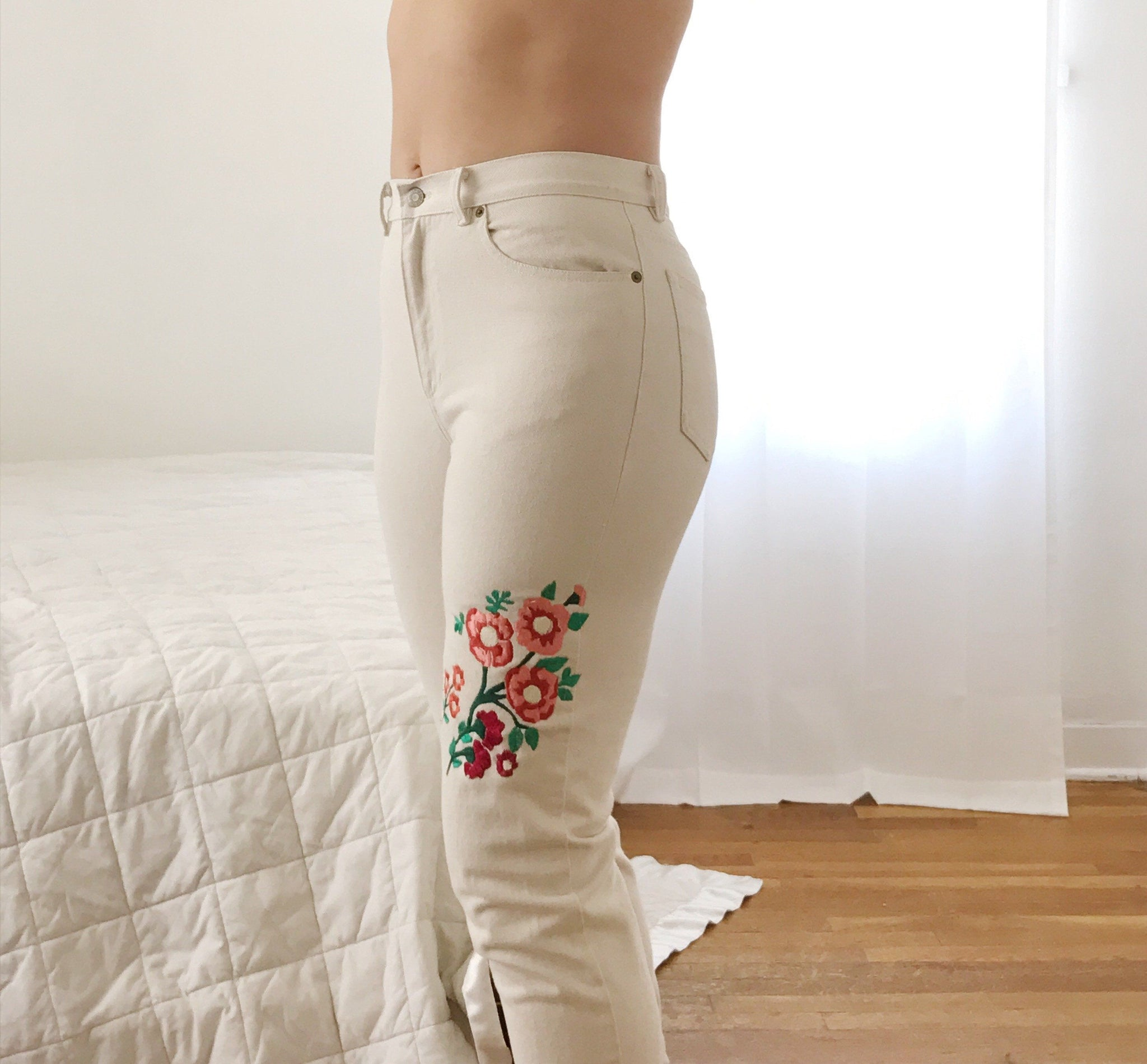 white floral jeans