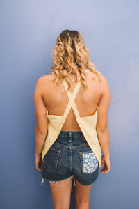 Yellow Gingham Asymmetrical Top