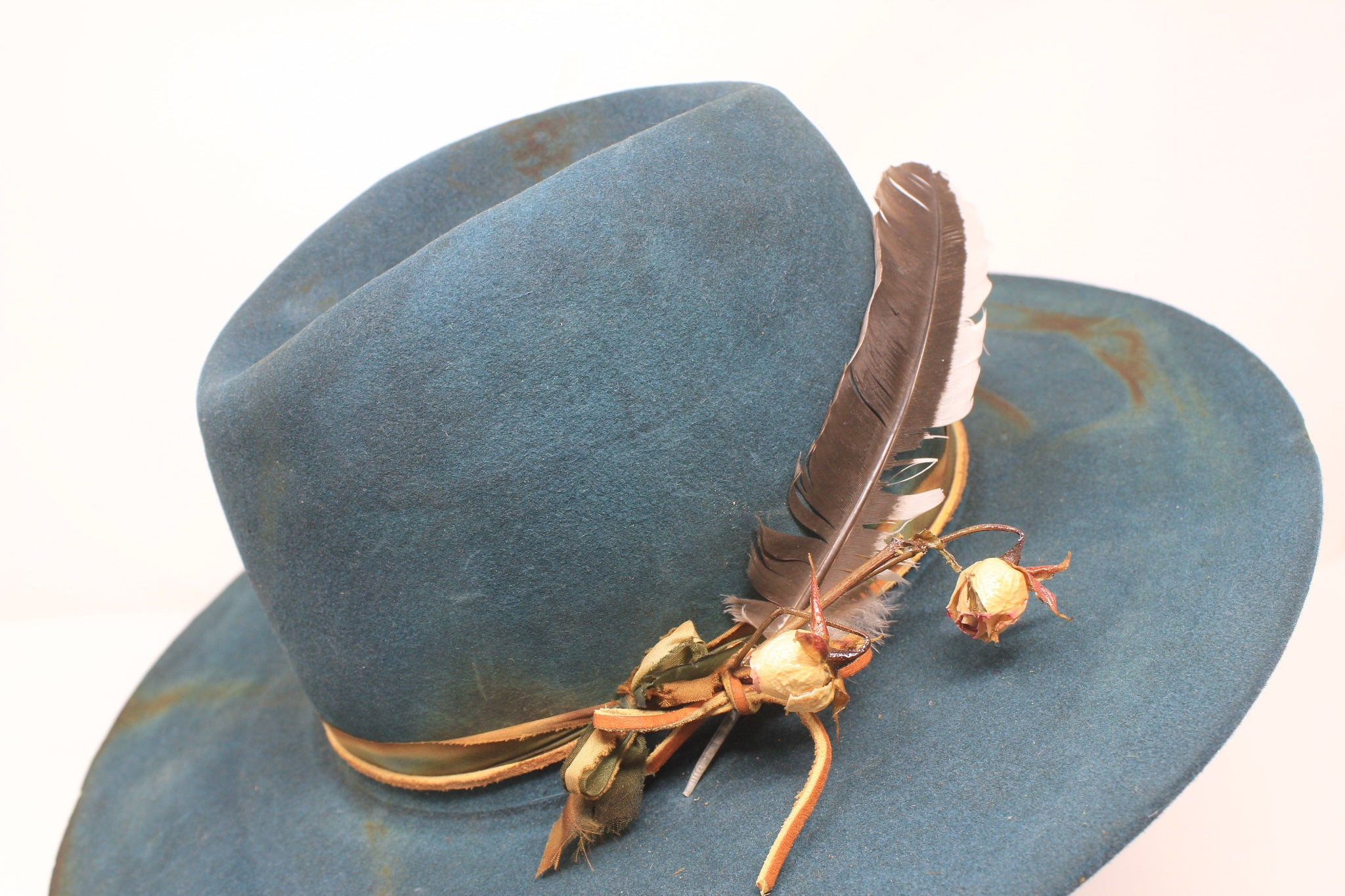 Hand Dyed Teal Green Lone Hawk Hat