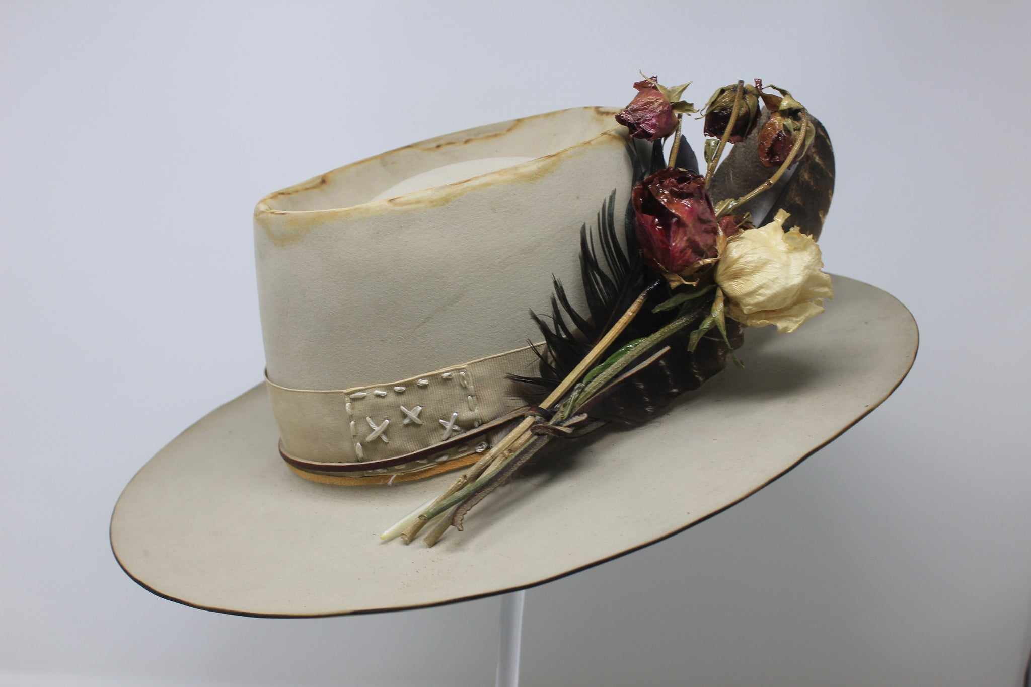 """Blond Tele"" Handmade Custom Lone Hawk Hat"