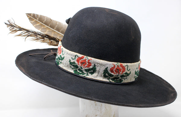 """The Native Rose"" Handmade Lone Hawk Hat with Native American Beaded Band"