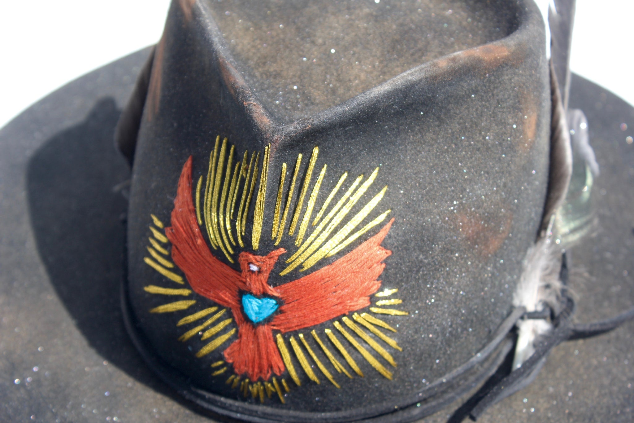 """The Rancho"" Custom Hand Embroidered Lone Hawk Hat"