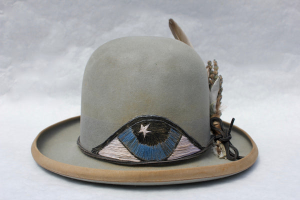"Lone Hawk ""The Eye-Conic"" Hand Embroidered One of Kind Custom Hat"