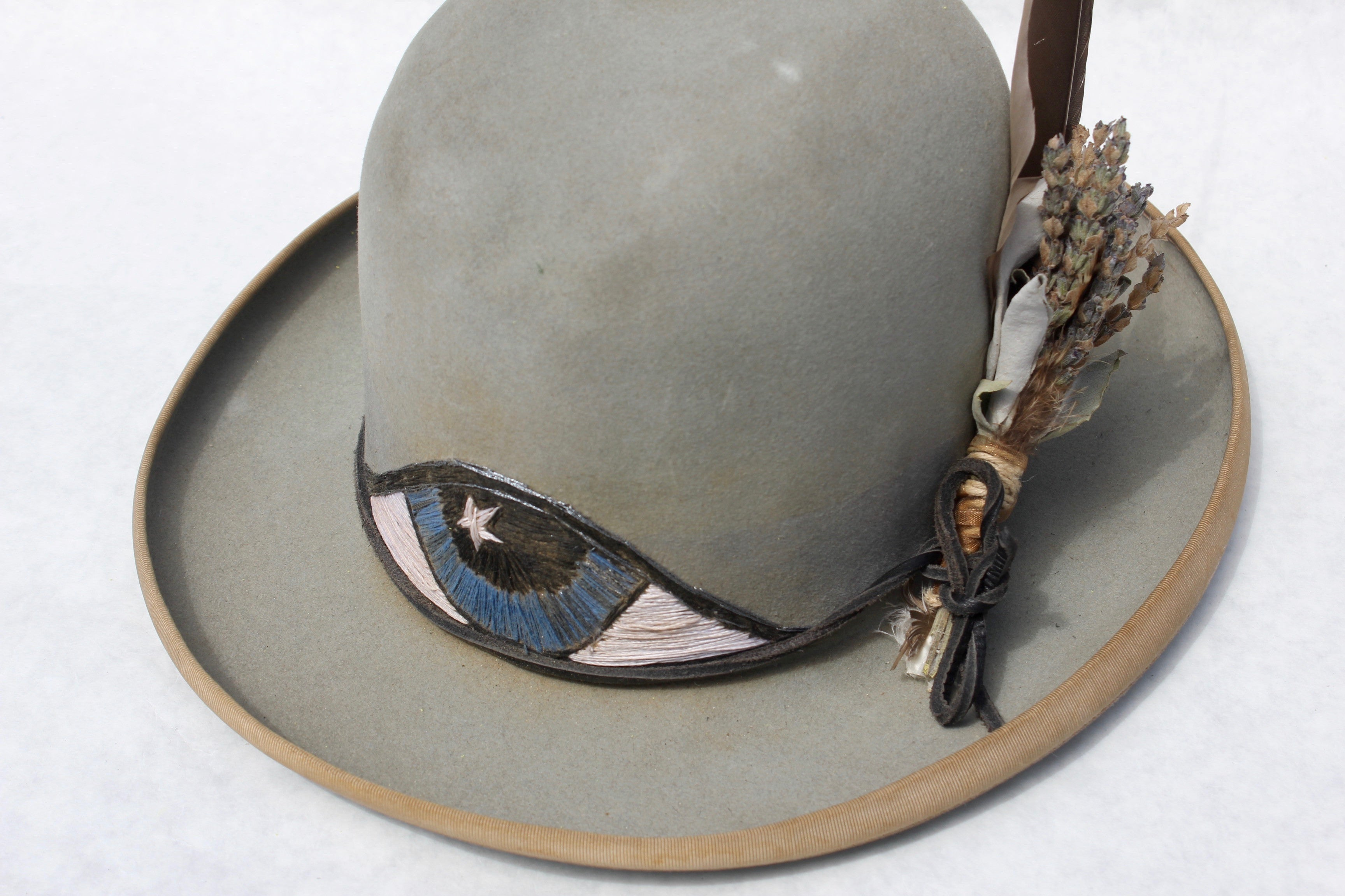 """Lone Hawk """"The Eye-Conic"""" Hand Embroidered One of Kind Custom Hat"""