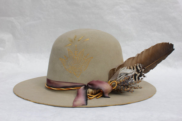 "Block Print Open Crown"" One-of-A-Kind Lone Hawk Hat"