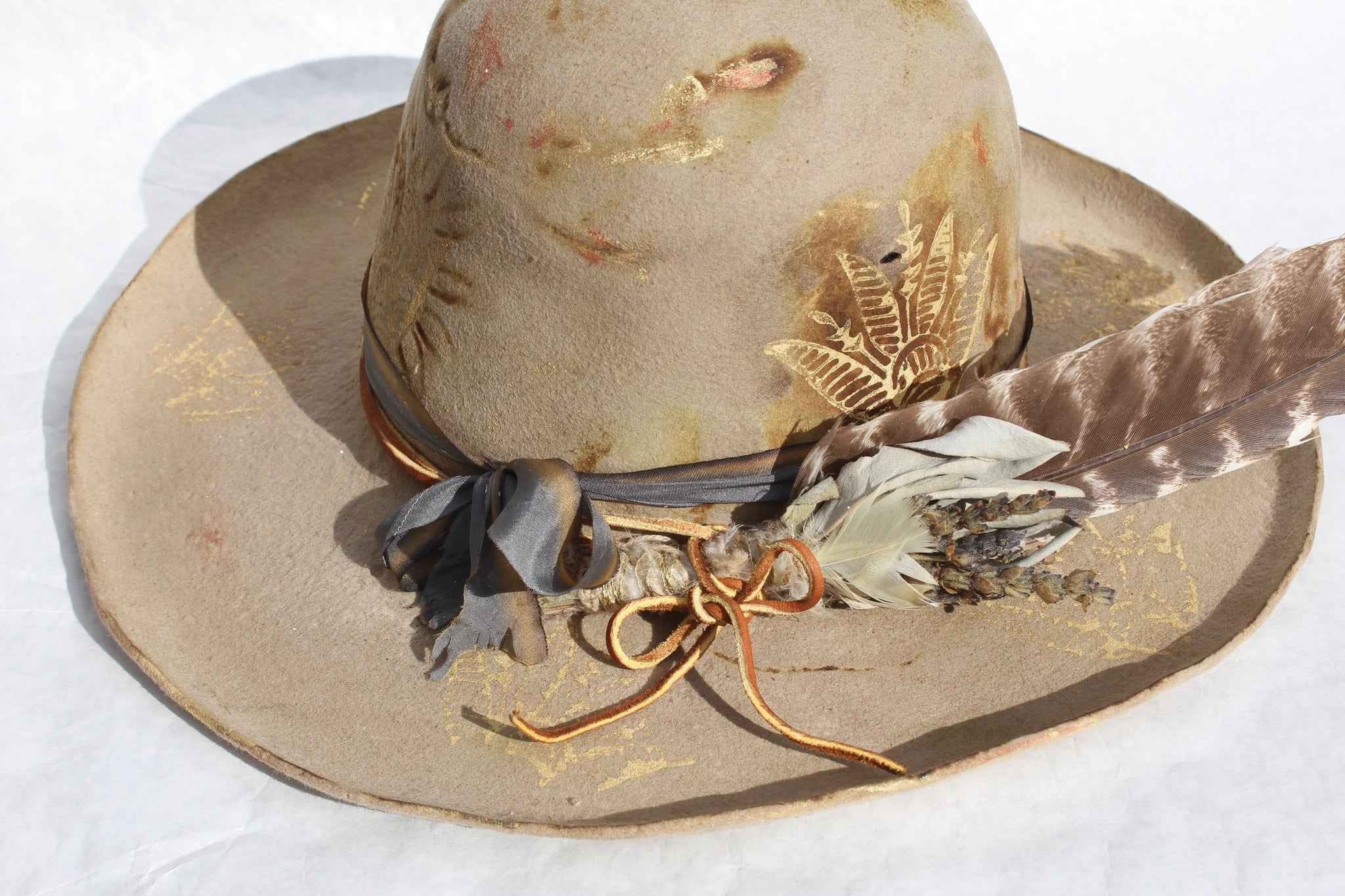 "Lone Hawk ""The Gold Rush"" Handmade Block Printed Custom Hat"