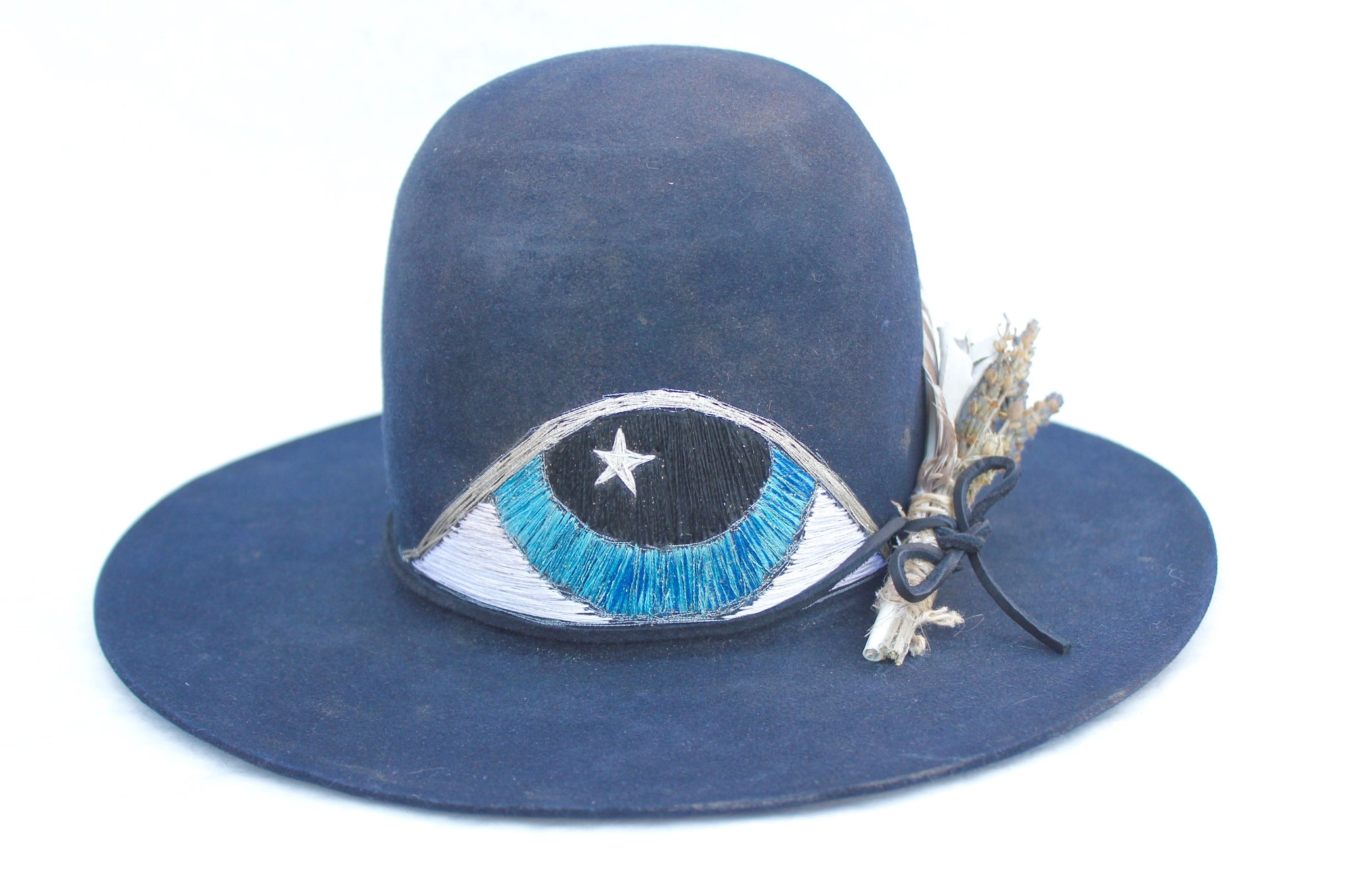 """The Eye of Enlightenment"" Embroidered One-of-A-Kind Lone Hawk Hat"