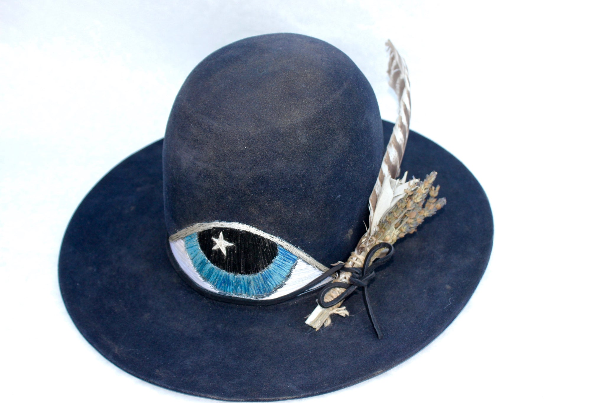 "'The Third Eye"" Hand Embroidered One-of-A-Kind Lone Hawk Hat"
