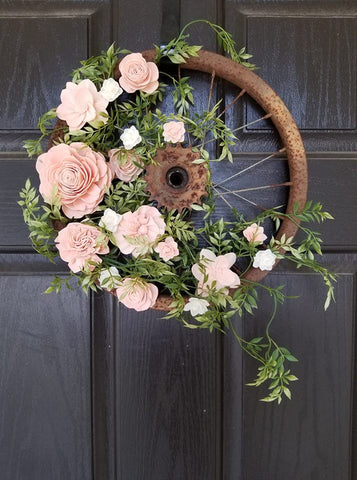 sola wood flower bicycle wreath