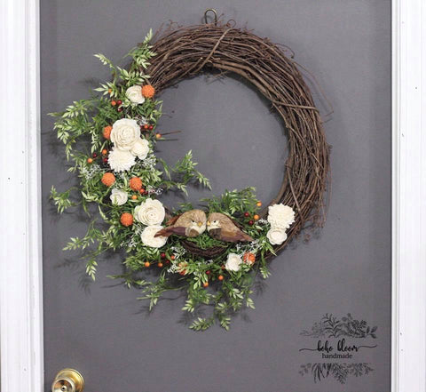 Sola Wood Flower Wreath With birds