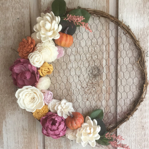 Fall chicken wire wreath with sola flowers