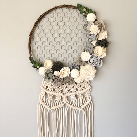 Chicken Wire Wreath with Macrame