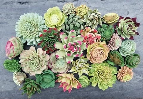 how to make succulents with sola wood flowers