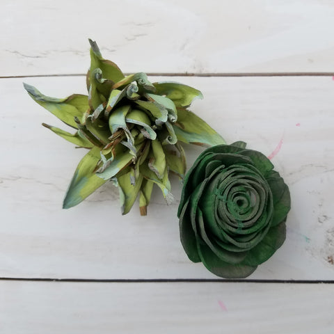 green sola wood flowers