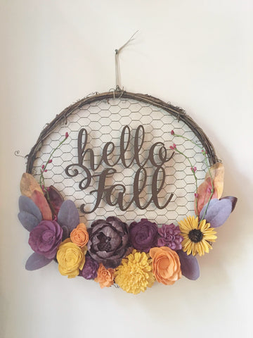 Hello Fall Chicken Wire Wreath