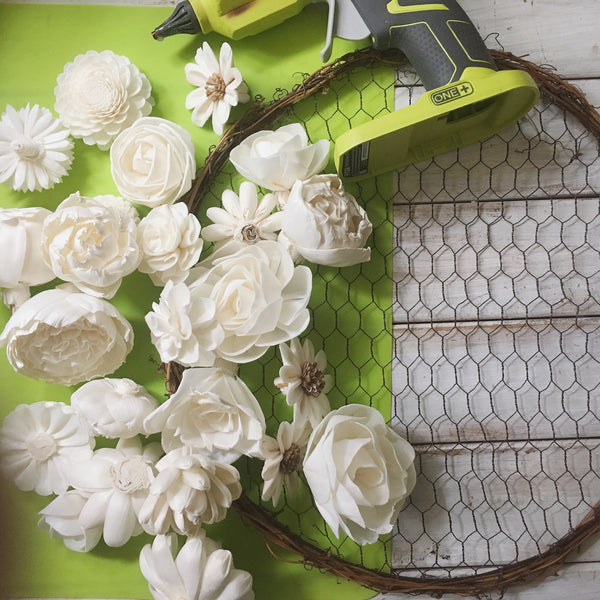 Chicken Wire Wreath and Sola Wood Flowers DIY Tutorial