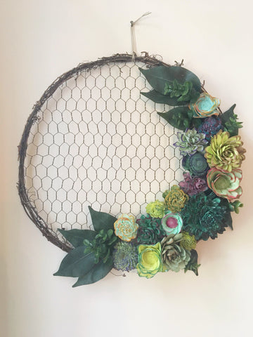 Succulent Chicken Wire Wreath