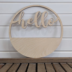 14 inch Hello Wreath _sola_wood_flowers